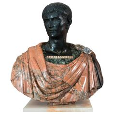Unique Sculpture (  Bust of Augustus ) Marble Breccia Antique and Black | From a unique collection of antique and modern sculptures at https://www.1stdibs.com/furniture/decorative-objects/sculptures/