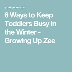 6 Ways to Keep Toddlers Busy in the Winter - Growing Up Zee