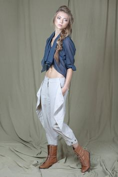 Cropped loose pants with diagonal  side by DesperatelyDifferent