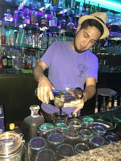 behind the bar , Al making drinks all night! Only at avenue 1704! come by Wednesday- Sunday ^.^