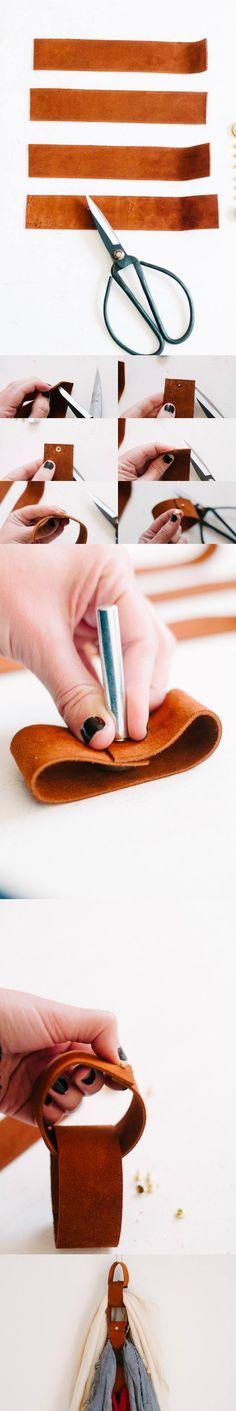 Organizador de bufandas - thecleverbunny.com - DIY Leather Scarf Organizer