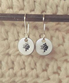 Handstamped Tree Earrings by sassyfrassx3 on Etsy