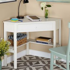 Target Marketing Systems Corner Writing Desk Antique White - Diy Bedroom Ideas For Small Rooms Small Spaces, Interior, Home, Bedroom Storage, Corner Writing Desk, Apartment Decor, Desks For Small Spaces, Small Bedroom, Corner Computer Desk