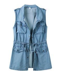 Wash Denim Sleeveless Vest with Elastic Waist