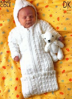 3 Designs Knit Baby Sleeping Bag Toddler Sweater and Jacket Vintage Knitting Pattern  - $1.75