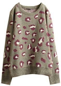 Grey Leopard Long Sleeve Sweater EUR€19.15