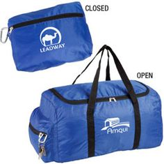 B134RD 210D polyester foldable duffel bag Compresses into convenient travel pouch Includes carabiner for accessibility and useduring recreation Ideal for fitness, recreation and travel Available in Royal Blue, Black, Orange, Red,White and Hunter Green