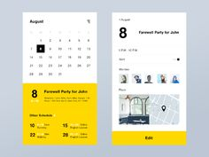 Calendar App by Kazuya Horikirikawa on Dribbble Ui Design Mobile, App Ui Design, Interface Design, User Interface, Design Design, Graphic Design Magazine, Magazine Design, Apps, Application Ui Design