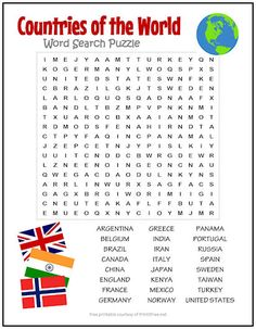 Countries of the World Word Search Puzzle | Print it Free