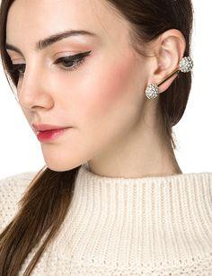 Diamond Ear Cuff - Statement Diamond Earrings - $14