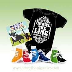 Quick and unique baby gifts Johnny Cash Crawl the Line Onesie, Lullabies and Socks Gift Set  http://www.babygiftsandgoodies.com