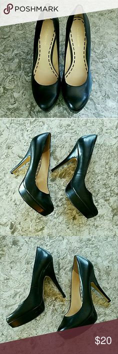 "Enzo Angiolini black heels Enzo Angiolini black heels. Decent shape with some scratches on the toes and heels. Size 10. 5.5"" heel with 1"" platform. Some numbers at base of sole near heel, would never see unless shoe is upside-down. Enzo Angiolini Shoes Heels"