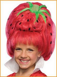 Kids Strawberry Tart Wig - big, red strawberry wig with bangs Great Halloween Costumes, Halloween Wigs, Halloween Costume Accessories, Strawberry Halloween, Strawberry Shortcake Costume, Kids Wigs, Strawberry Tart, Horror, Wigs With Bangs