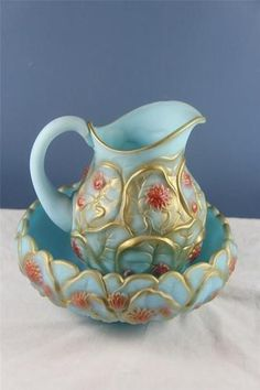 Antique Satin Blue Hand Painted Pitcher and Bowl w/ Poinsettas