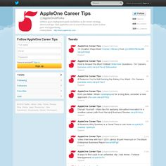 AppleOneWorks is AppleOne's Twitter account for Career Tips.  Follow our account for career strategy, advice and tips.  We are posting interesting career tips, advice and articles 6x per day.