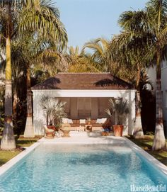 This pool is on an axis with the master bedroom in a Vero Beach, Florida, house. Click through through more pool designs and ideas for beautiful swimming pools.