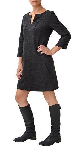 Like New CUE Grey Wool Tweed Long Sleeve Shift Dress 10 $269