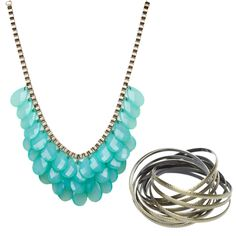 Teardrop gem statement necklace in turquoise