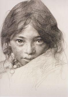 "Artist: Ai Xuan ~ ""Portrait of a Tibetan girl III"""