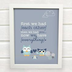 Cute Owl Family Print for a Baby Boy's Nursery by SunshinePrintsCo, $15.00