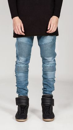 REPRESENT CLOTHING WRAITH BIKER JEANS / BLUE STONE WASH - 28