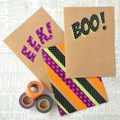 Washi tape and a little clever cutting are all you need to craft these dynamic Halloween cards.