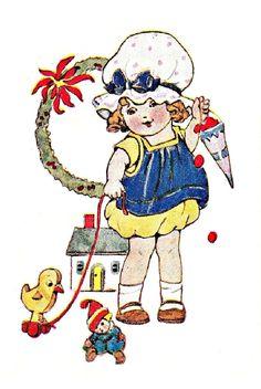 vintage Christmas girl in yellow and blue dress with duck, doll house, doll Vintage Christmas Images, Old Christmas, Vintage Images, Christmas Postcards, Christmas Stuff, Gifs, Gif Animé, The Past, Presents