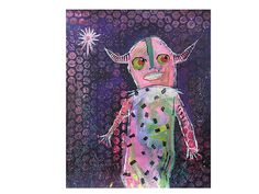 Folk Outsider Art Painting Figurative Primitive by ArtBeatriceM