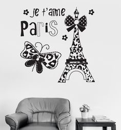Vinyl Wall Decal Paris Eiffel Tower Quote French France Girl Room Stickers (ig3234)