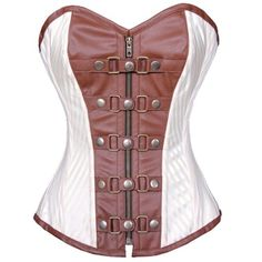 Brown and White Steampunk Belted Corset $120.00 AT vintagedancer.com