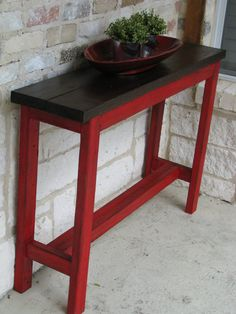 Rustic Sofa Table, Console Table, Entry Way Table with RED/Brown color scheme