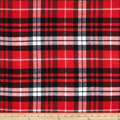 Kaufman Mammoth Flannel Plaid Scarlet from @fabricdotcom  Designed for Robert Kaufman Fabrics, this soft double napped (brushed on both sides) medium weight (6.4 oz per square yard) flannel is perfect for shirts, loungewear and more! The flannel is a yarn dyed plaid of red, black and white. Remember to allow extra yardage for pattern matching.