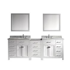 Virtu USA Caroline Parkway 93 in. Double Vanity in White with Marble Vanity Top in Italian Carrara White and Mirror-MD-2193-WMRO-WH - The Home Depot