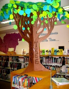 Book Tree! Made from die-cut circles (leaves) and an old refrigerator box.  Each leaf has the name of a kid who signed up for Summer Reading and their favorite book title. (It's not a bulletin board, but a cool way to set up a tree in a classroom or library.)