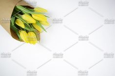 Simply styled tulips to give your brand a touch of spring. Business Stock Photos, Tulip Bouquet, Yellow Tulips, High Quality Images, Overlays, Bloom, Branding, Pop, Creative