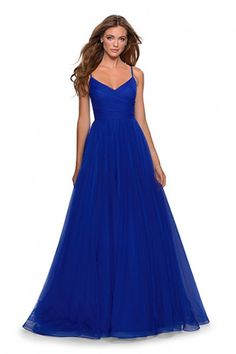 La Femme - 28123 Classic tulle A-line prom gown featuring a perfectly pleated V-neck bodice. This design is completed with thin spaghetti straps and pockets. Prom Dress Stores, Prom Dresses Online, Tulle Ball Gown, Ball Gowns, Ball Dresses, Long Dresses, Formal Dresses, Electric Blue Dresses, Pleated Bodice