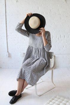 rennes Long Sleeve Meeting Dress Midi Stripe Linen                                                                                                                                                                                 More