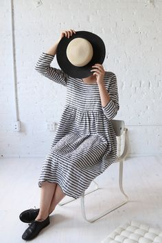 rennes Long Sleeve Meeting Dress Midi Stripe Linen