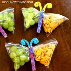 Very cute! Butterfly snacks- perfect for lunches and spring picnic parties!