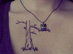 Owl On A Tree Branch Tattoo