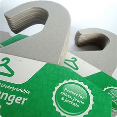"""""""The Green Hanger""""  Made from 100% recycled & recyclable cardboard, no glues or inks on hangers and perfect for delicate fabrics and garments. <3  4 dollars/5 pack or 65 dollars/100 pack"""