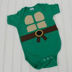 Great Halloween Costume or Baby Shower gift Ready to Ship Onesie Teenage Mutant Ninja Turtles TMNT sewn cotton applique