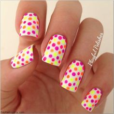 Colorful polka dot nails.#nailart #nails
