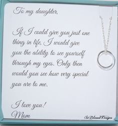 Graduation Signs Discover Gifts for daughter from Mom DAUGHTER necklace To Daughter from Mom Daughters POEM Birthday gift for daughter wedding gift for daughter Mother Daughter Quotes, Birthday Quotes For Daughter, Mom Daughter, Poems For Daughters, Beautiful Daughter Quotes, Mother Daughter Jewelry, Mother Poems, Brother Sister, Daughter Graduation Quotes