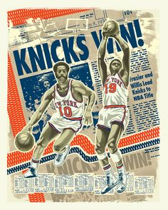 Knicks Frazier and Reed 1970 Title piece by artist Mark Sgarbossa, available in limited edition fine art prints and stretched canvases at RareInk.com. $99.