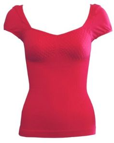 Ladies Fushia Seamless Ribbed Diamond Patterned Cap Sleeve Top Wide V-Neck $8.90
