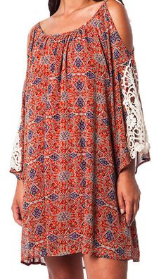 Rust Cold shoulder Mini Dress with lace sleeves Boho Style – Plan B Fashionista
