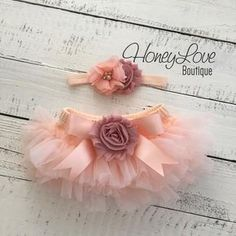 SET Peach tutu skirt bloomers diaper cover, vintage pink flower headband bow, ruffles all around, newborn infant toddler little baby girl by HoneyLove Boutique Toddler Headbands, Elastic Headbands, Girl Headbands, Pink Tutu Skirt, Baby Girl Skirts, Baby Skirt, Fabric Tutu, Toddler Skirt, Baby Tutu
