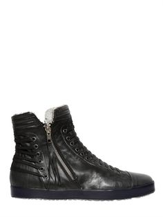 CLONE - LACED NAPPA ZIP UP HIGH TOP SNEAKERS - LUISAVIAROMA - LUXURY SHOPPING WORLDWIDE SHIPPING - FLORENCE