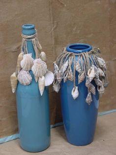 Shells on Twine around Jar or Bottle